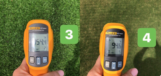 Artificial Fields at UNC hit 154.4 degrees F on 87 degree day
